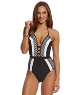 JETS by Jessika Allen Luxe Plunging Contrast One Piece Swimsuit