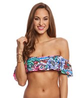 Laundry By Shelli Segal Laguna Flora Cold Shoulder Bikini Top