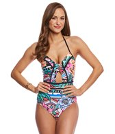 Laundry By Shelli Segal Laguna Flora Cut Out One Piece Swimsuit