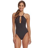 Kenneth Cole Sexy Solids Keyhole High Neck One Piece Swimsuit