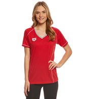 Arena Women's Team Line Short Sleeve V Neck T Shirt