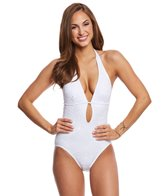 Kate Spade New York Embroidered Halter Plunge One Piece Swimsuit