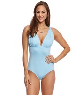 Carmen Marc Valvo Classic Solid Draped One Piece Swimsuit