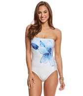 Carmen Marc Valvo Gilded Garden Bandeau One Piece Swimsuit