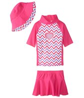 Sporti Girls' UPF 50+ S/S Rash Guard and Cover Up Skirt Set with Sun Hat (2T-5T)