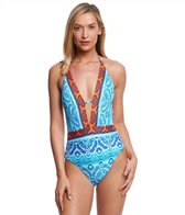 La Blanca All In The Mix Plunge Halter One Piece Swimsuit