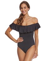 Trina Turk Gypsy Solid Off The Shoulder Bandeau One Piece Swimsuit