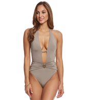 Trina Turk Studio Solid V-Plunge One Piece Swimsuit