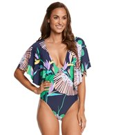 Trina Turk Midnight Paradise Flutter Sleeve One Piece Swimsuit