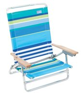 Rio Brands More Than a Stripe Blue Stripe Classic 5-Position Lay Flat Aluminum Beach Chair
