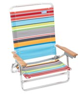 Rio Brands More Than a Stripe Gray Stripe Classic 5-Position Lay Flat Aluminum Beach Chair