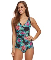 Gabar Jungle Flower V-Neck One Piece Swimsuit