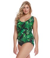 Sporti Plus Size Tropical Palm Side Tie Blouson Tankini Top