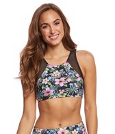 Sporti Tropical High Neck Crop Bikini Top