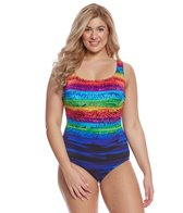 Longitude Plus Size Sweet Sunset X-Back One Piece Swimsuit