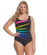 Longitude Plus Size Color Block Fan One Piece Swimsuit