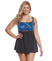 Longitude Plus Size Basic Instinct Empire Swimdress