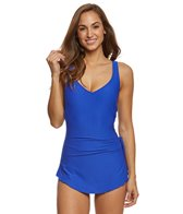 Maxine Solid Spa Chlorine Resistant Sarong One Piece Swimsuit