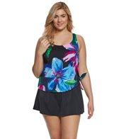 Maxine Plus Size Bloom Faux Skirtini One Piece Swimsuit