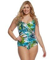 Maxine Plus Size Palm Beach Girl Leg One Piece Swimsuit
