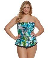 Maxine Plus Size Palm Beach Ruffled Tankini Top