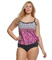 Maxine Plus Size Kaleidoscope Faux Tankini One Piece Swimsuit