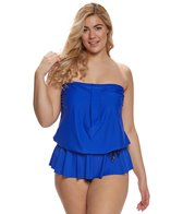 Maxine Plus Size Solid Tricot Peplum One Piece Swimsuit