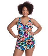 Maxine Plus Size Blossom Spa Chlorine Resistant Sarong One Piece Swimsuit