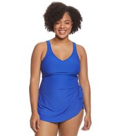 Maxine Plus Size Spa Solid Chlorine Resistant Sarong One Piece Swimsuit