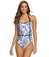 Athena Garden Party Belted Bandeau One Piece Swimsuit