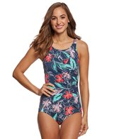 Penbrooke Floral Sketch High Neck One Piece Swimsuit