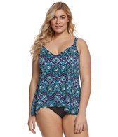 Penbrooke Plus Size Ethnic Groove Fauxkini One Piece Swimsuit