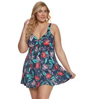 Penbrooke Plus Size Floral Sketch Swimdress