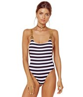 Blue Life Swimwear Stripe Buckled Overall One Piece Swimsuit
