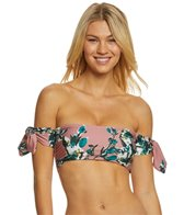 Splendid Watercolor Floral Off Shoulder Bandeau Bikini Top
