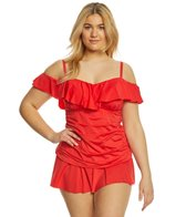 Kenneth Cole Reaction Plus Size Ready to Ruffle Off the Shoulder Tankini Top