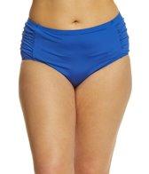 Kenneth Cole Reaction Plus Size Solid Mid High Shirred Bikini Bottom