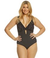 Kenneth Cole Reaction Plus Size Ready to Ruffle Halter One Piece Swimsuit