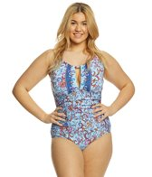 Kenneth Cole Reaction Plus Size Daydreamer High Neck One Piece Swimsuit