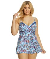Kenneth Cole Reaction Plus Size Daydreamer Long Tankini Top