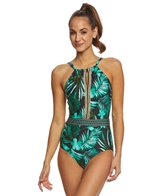 Jantzen Leafy Tropical High Neck One Piece Swimsuit