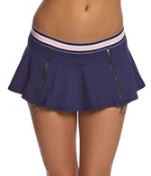 Anne Cole Elastic Solid Zip Skirted Bikini Bottom