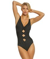 Carmen Marc Valvo Coastal Twist Solid One Piece Swimsuit