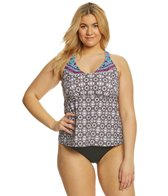 24th & Ocean Plus Size Tie Dye Medallion Racerback Tankini Top