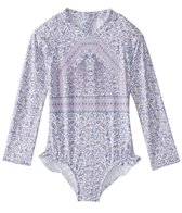 Seafolly Girls Girls' Peacock Paisley Long Sleeve Surf Tankini (Baby, Toddler, Little Kid)