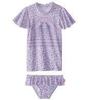 Seafolly Girls Girls' Peacock Paisley Rashie Set (Baby, Toddler, Little Kid)