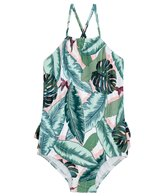Seafolly Girls Girls' Palm Beach Rouched Neck Tank One Piece Swimsuit (Baby, Toddler, Little Kid)