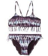 Hobie Girls' Tie Dyemonds Fringe Bralette and Hipster Swimwear Set (Big Kid)