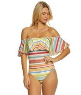 Vince Camuto Cabana Stripes Off The Shoulder One Piece Swimsuit
