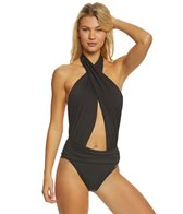 Vince Camuto Riviera Solid Wrap Halter One Piece Swimsuit